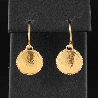 Gurhan 22K Hammered Disc Drop Earrings