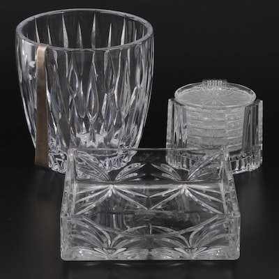 Marquis by Waterford Crystal Coasters, Champagne Bucket, Tray and Steel Tongs