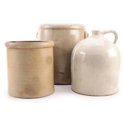 Salt Glazed Stoneware Crocks and Jug