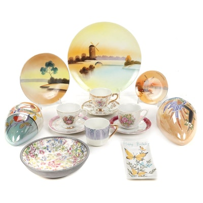 Japanese Hand Painted Wall Pockets and Other Porcelain and Lusterware
