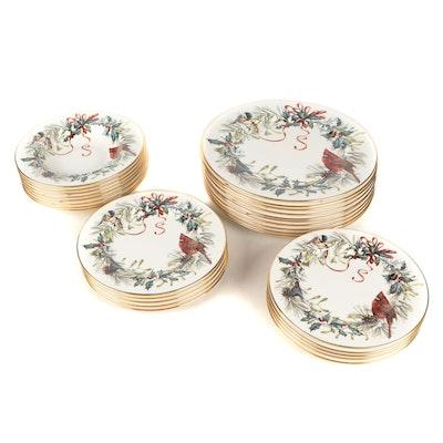 "Lenox ""Winter Greetings"" Porcelain Dinnerware, Late 20th Century"