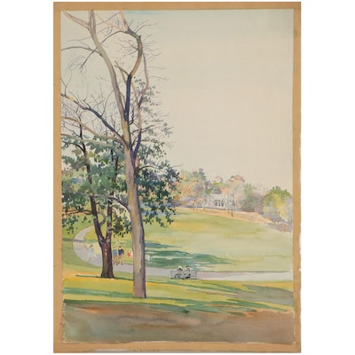 Carle Michel Boog Watercolor Painting of a Park, Mid-20th Century