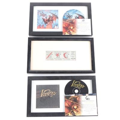 Meat Loaf, Eddie Vedder Signatures with COAs, Woodstock 1969 Ticket in Frames