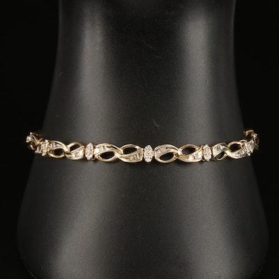 10K 0.24 CTW Diamond Fancy Link Bracelet