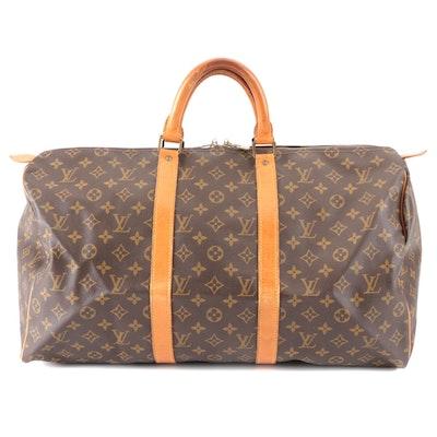 Louis Vuitton Malletier Keepall 50 Bag in Monogram Canvas and Vachetta Leather
