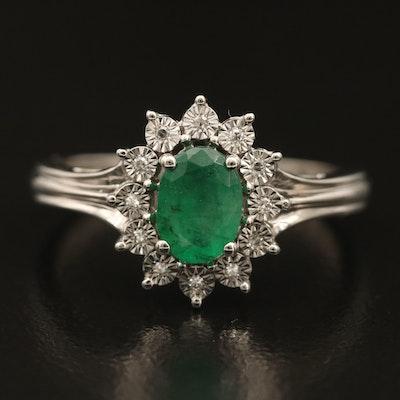 10K Emerald and Diamond Ring