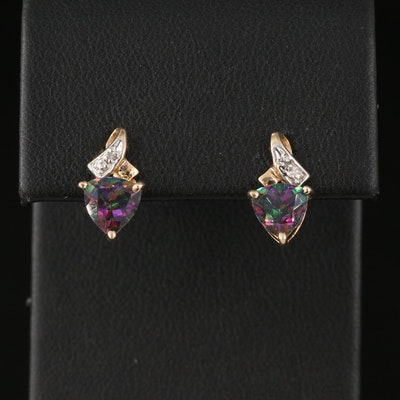 10K Mystic Topaz Stud Earrings with Diamond Accents