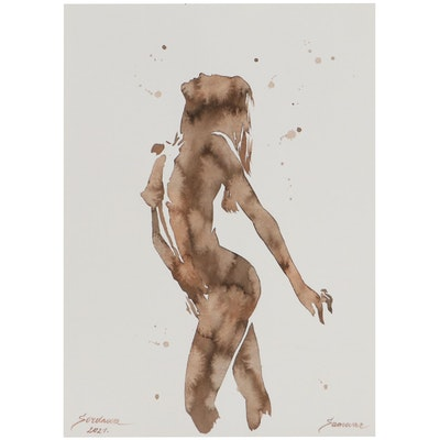 Anastasija Serdnova Watercolor Painting of Nude, 2021