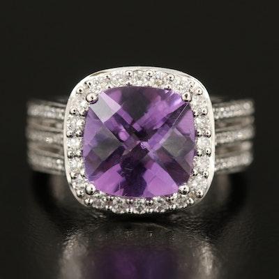 Natalie K 14K Amethyst and Diamond Ring