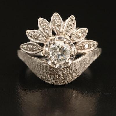 14K 0.63 CTW Diamond Textured Ring