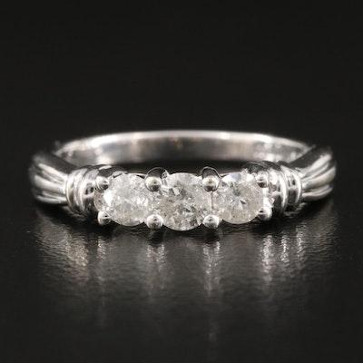 10K Three Stone 0.50 CTW Diamond Ring