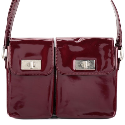 Gucci Small Shoulder Bag in Dark Red Patent Leather with Two Flap Pockets