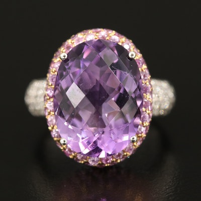 14K Amethyst, Sapphire and Diamond Ring