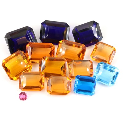 Loose Rectangular and Round Faceted Glass