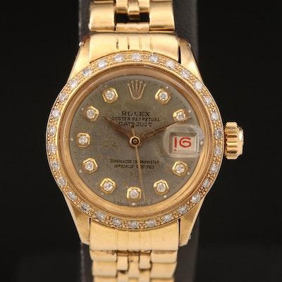 1960 Rolex Datejust Diamond Dial and Bezel 18K Wristwatch