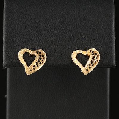 10K Heart Stud Earrings with Diamond Cut Accents