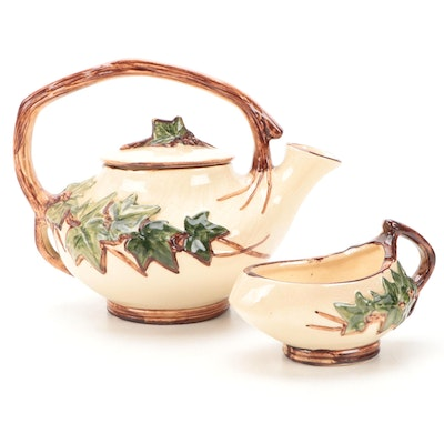 """McCoy Pottery """"English Ivy"""" Earthenware Teapot and Open Sugar Bowl, 1950s"""