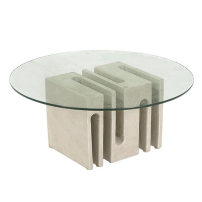 910 Castings Contemporary Glass Top Coffee Table on Free-Form Cast Concrete Base
