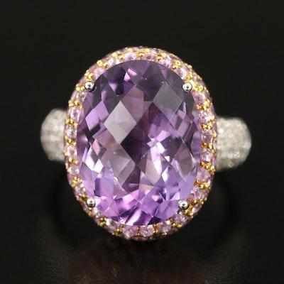 14K 7.45 CT Amethyst, Sapphire and Diamond Ring
