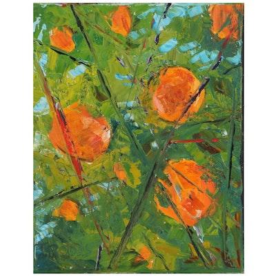 """Patricia """"Troods"""" Nolan-Brown Oil Painting """"Juicy Orange Tree"""""""