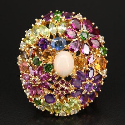 Sterling Opal, Amethyst and Garnet Floral Ring