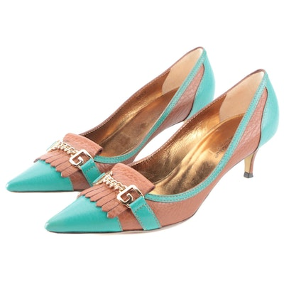 Dolce & Gabbana Pumps in Brown and Turquoise Grained Leather with D & G Chain