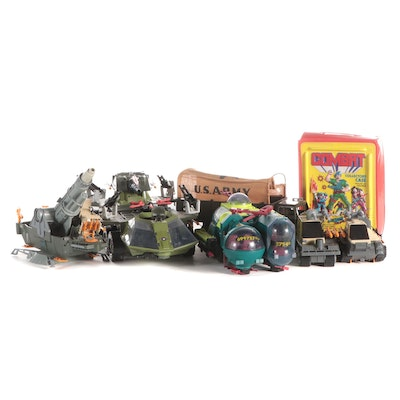 Marx Toys Steel Army Transport with GI Joe Vehicles, Rocket Launcher and Figures