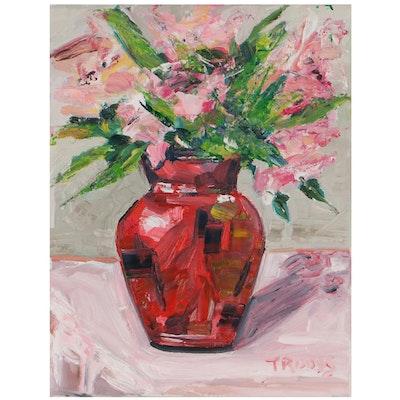 "Patricia ""Troods"" Nolan-Brown Oil Painting ""Pink Flowers Red Vase'"