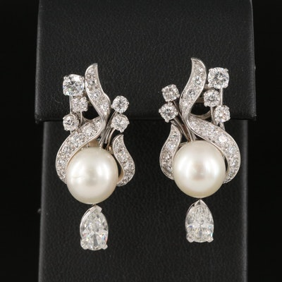Platinum 3.42 CTW Diamond and Pearl Earrings