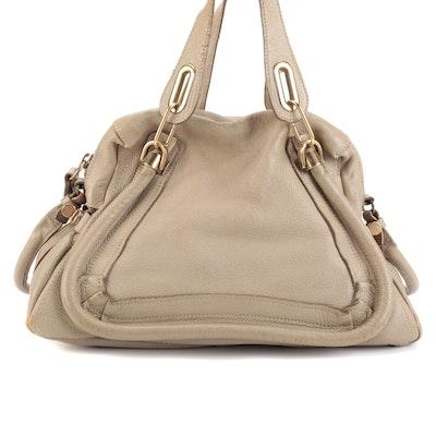 Chloé Paraty Handbag in Dark Beige Leather with Detachable Shoulder Strap