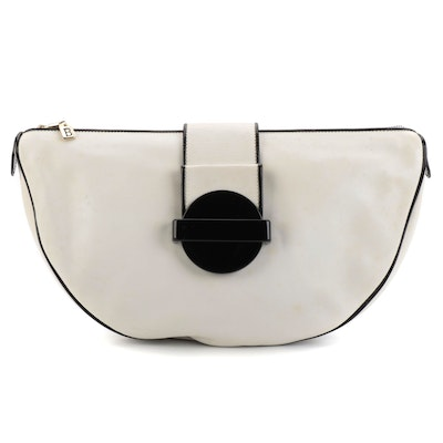 Bally Large Clutch in White Leather with Black Patent Piping and Geometric Snap
