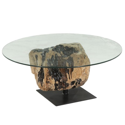 Contemporary Glass Top Coffee Table on Driftwood and Steel Base