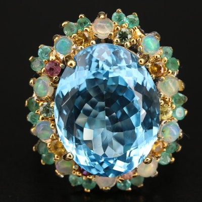 Sterling Ring Including Swiss Blue Topaz, Opal and Sapphire