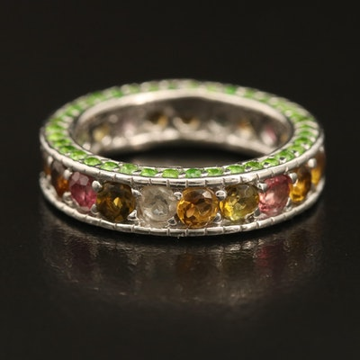 Sterling Tourmaline, Citrine and Diopside Eternity Band