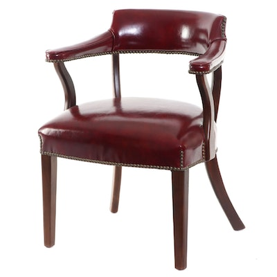 Mulberry Vinyl Upholstered Captain's Chair with Nailhead Trim