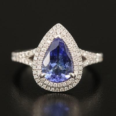 14K 1.46 CT Tanzanite and Diamond Teardrop Ring
