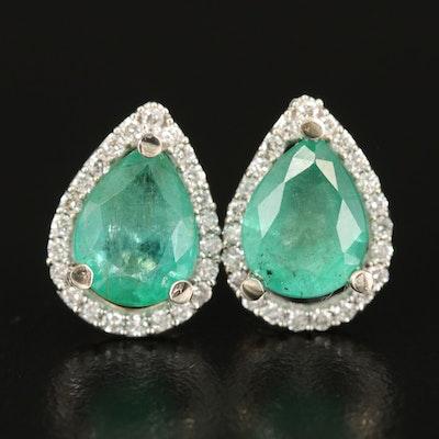 14K 3.30 CTW Emerald and Diamond Halo Teardrop Earrings