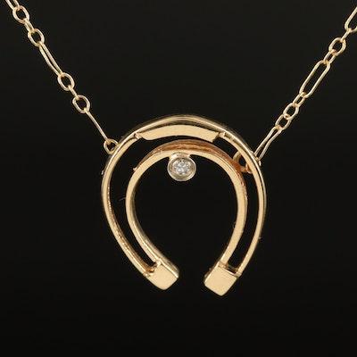 14K Diamond Horseshoe Necklace