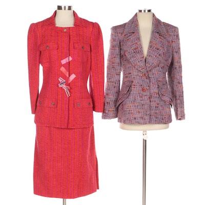 Christian Lacroix Cotton Blend Skirt Suit and Wool Blend Jacket