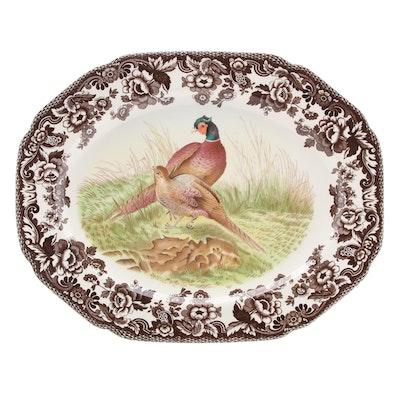 "Spode ""Woodland"" Pheasant Motif Ceramic Oval Serving Platter"
