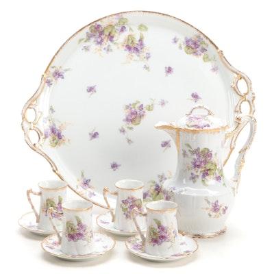 French Made Floral Motif Limoges Porcelain Tea Set