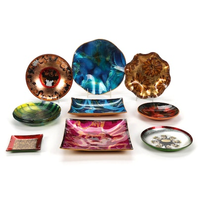 Mexican Reverse Painted Trays and Count Agazzi Glass Trays