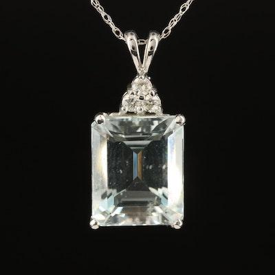 14K Aquamarine Pendant Necklace with Diamond Accent