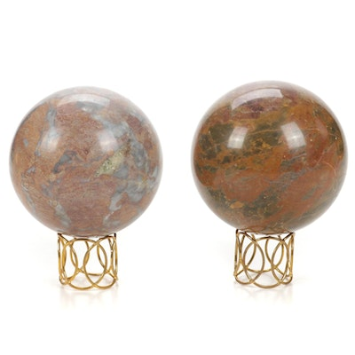 Two Stone Orbs with Metal Stands