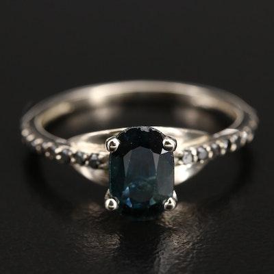 14K Sapphire and Black Diamond Ring