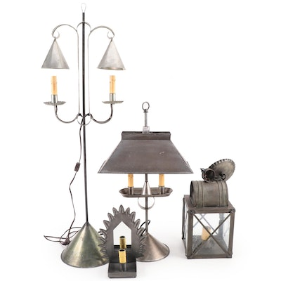 Primitive Style Tinware Table Lamps, Accent Lamp and Hanging Lantern