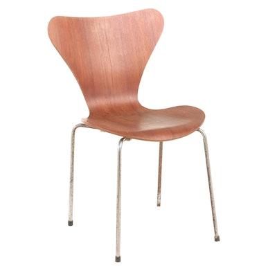 Arne Jacobsen for Fritz Hansen Laminated Teak and Steel Side Chair, dated 1978