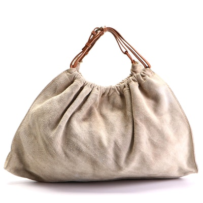 Gucci Medium Tote Bag in Suede with Leather Handles