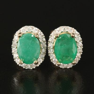 14K Emerald and Diamond Halo Earrings