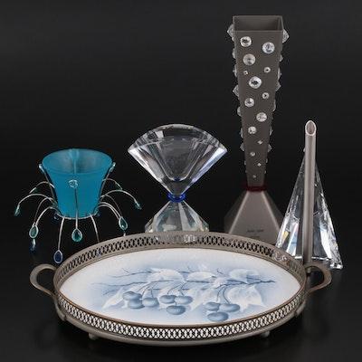 Swarovski Crystal Vases and Votive Holder with Other Handled Tray